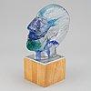 Bertil vallien, a cast glass sculpture of a head, kosta boda, sweden, ed. 6/20.