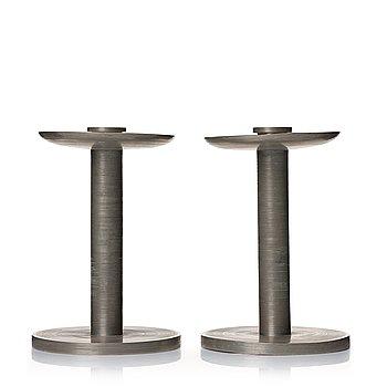 307. Björn Trägårdh, a pair of pewter candlesticks, Svenskt Tenn, Stockholm 1932.