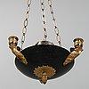A swedish empire style 20th century three-light patinated brass hanging-lamp.