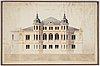 Fasadritning, akvarell, daterad 1857.