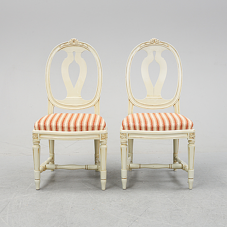 Six gustavian style chairs, second half of the 20th century.