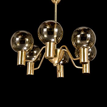 "Hans-Agne Jakobsson, A 1960s/70s century ceiling lamp ""Patricia"" T 716 with 6 light sources, Markaryd, Sweden."