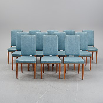 "Carl Malmsten, a set of twelve chairs, model ""Gustavus"", second half of the 20th century."