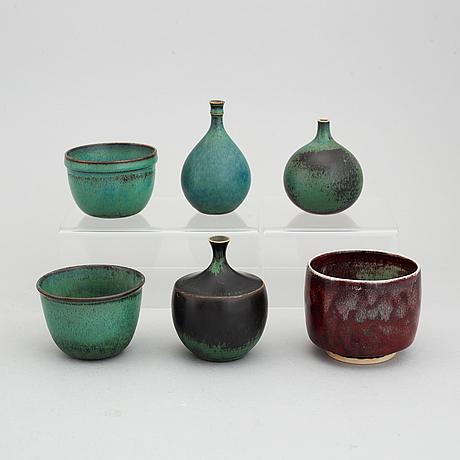 Six miniatures by stig lindberg, gustavsberg studio, 1969 and 1976.