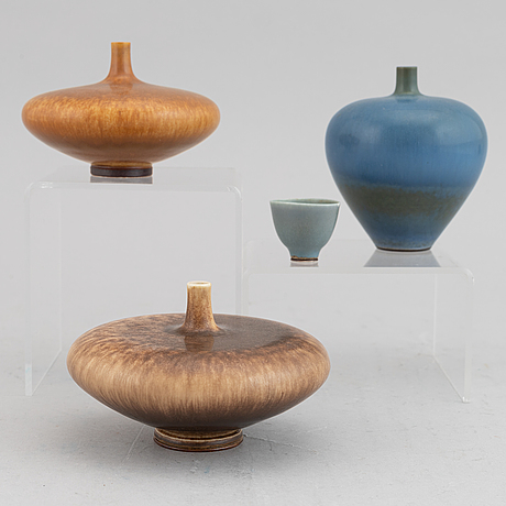 Four miniature vases and bowl by berndt friberg, gustavsberg, 1958-1972.