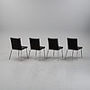 Olle andersson, four leather 'quick' chairs, offecct.
