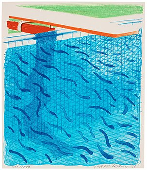 "762. David Hockney, ""Pool Made with Paper and Blue Ink for Book""."