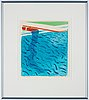 """David hockney, """"pool made with paper and blue ink for book""""."""