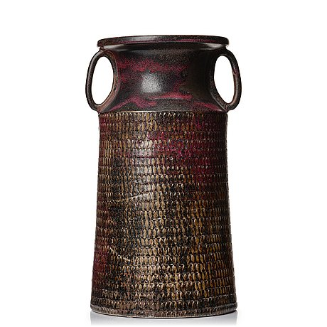 Stig lindberg, a stoneware floor vase, gustavsberg studio, sweden 1967.