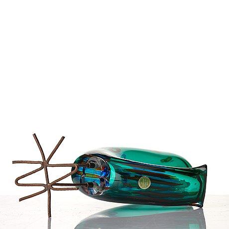 "Alessandro pianon, a ""pulcino"" glass sculpture of a bird, vistosi, murano, italy 1960's."