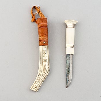 Johan Fankki, a Sami reindeer horn and leather knife, signed JF.