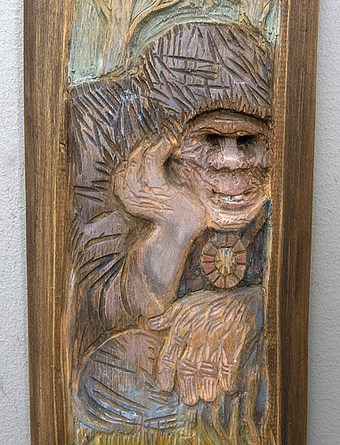 Kjell sundberg, a signed and dated wooden relief.