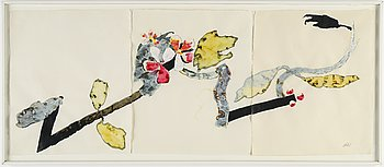 Olle Kåks, triptych, watercolor and gouache, signed.