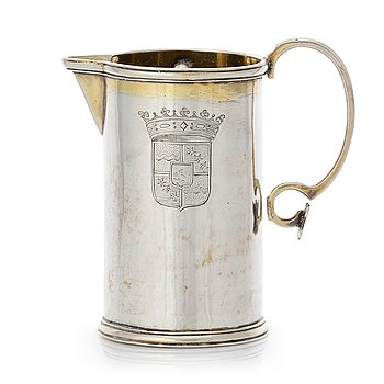 152. A Swedish 18th century parcel-gilt silver jug, mark of Petter Lund 1727.