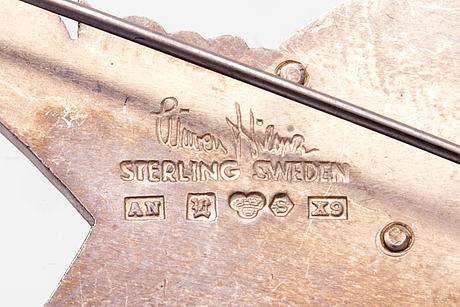 "Wiwen nilsson brooch, sterling silver, ""crane"", approx 6 x 3 cm, lund 1972."