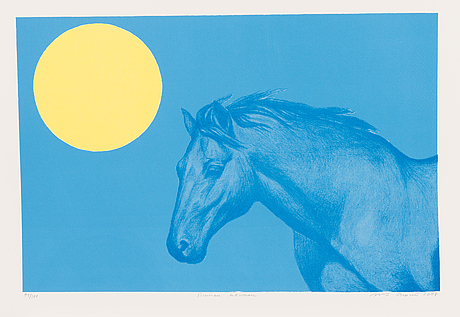Portfolio of prints, 'mannerheim', a set of five lithographs, signed and dated 2008, numbered 94/100.