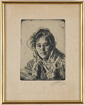 Anders Zorn, etching, 1903, signed in pencil.