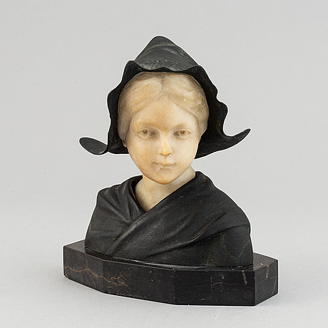 An alabaster and bronze bust on stone base, signed g. möerlin. early 20th century.