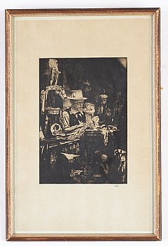 Axel Fridell, dry point etching, signed.