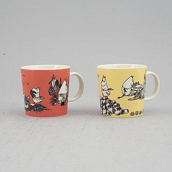 Two porcelain Moomin mugs, Moomin Characters/Bulls, Arabia, Finland.
