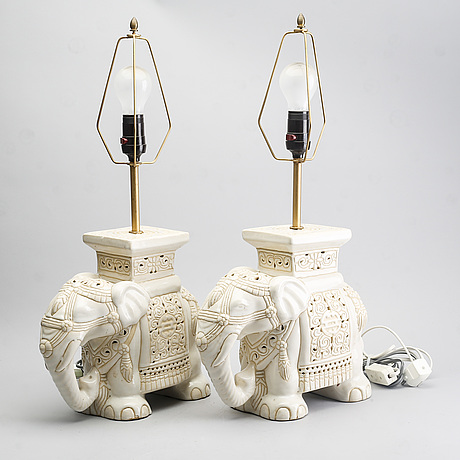 A pair of ceramic table lamps, second part of the 20th century.