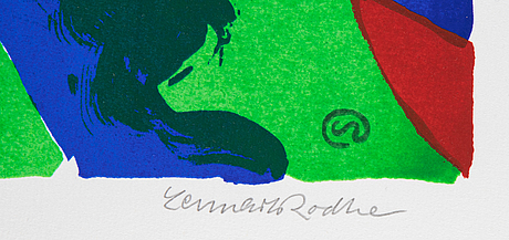 Lennart rodhe, silkscreen in colours, 1976, signed 67/75.