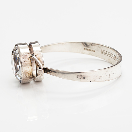 A silver ring and bracelet with rock crystals. granit, helsinki 1967.