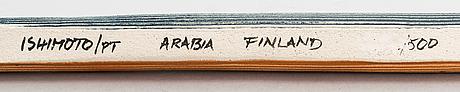Fujiwo ishimoto, maljakko, keramiikkaa, signeerattu, arabia finland.