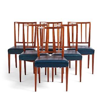 Josef Frank, a set of six chairs, model 815, for Svenskt Tenn, Sweden 1940's-50's.