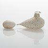 Oiva toikka, glasfågel med ägg, signerade o. toikka nuutajärvi.