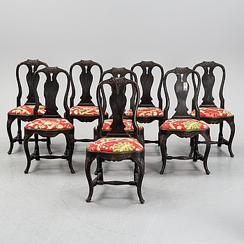Eight painted Rococo style chairs, first half of the 20th century.