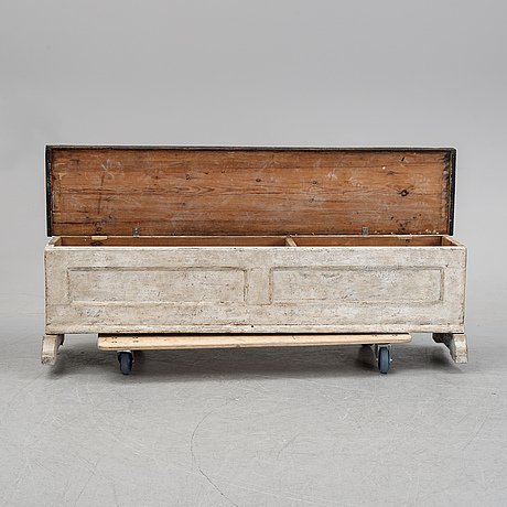 A painted bench, 19th century.
