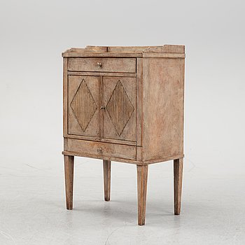 A Gustavian style bedside cabinet, 20th Century with older parts.