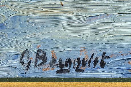 Gunnar bergqvist, oil on panel signed.