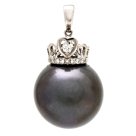 Pendant 18k whitegold 1 tahitian pearl approx 1,:5 mm and diamonds.