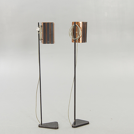 Floor lamps, a pair, probably werner schou, 1950s-60s.
