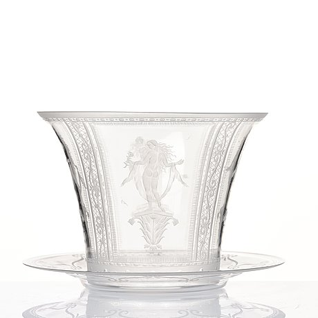 Simon gate, an glass bowl with plate, orrefors 1924, engraved by karl müller.