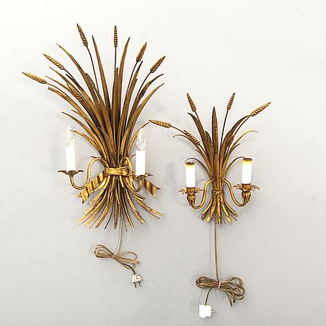 """Wall lamps, """"rye"""", italy, 70s, 2 pcs."""