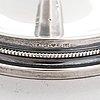 Skål, silver, ingrid råström, och ljusstakar, ett par, silver, sverige 1985 resp. 1959.