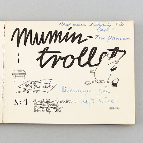 """Book/album, """"mumintrollet n:1"""", by tove jansson, with handwritten dedication, gebers, 1957."""