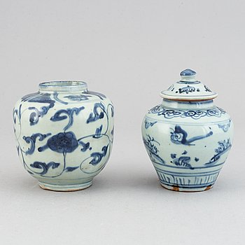 Two blue and white jars, Ming dynasty (1368-1644).
