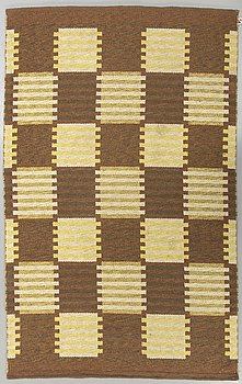 "Carl Malmsten, a signed flat weave carpet ""Capella"", ca 200 x 133 cm."