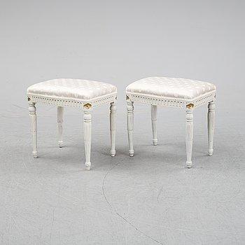 A pair of Gustavian stye stools, 19th Century.