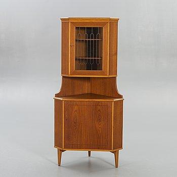 Corner cabinet / Display cabinet, teak, 60s.