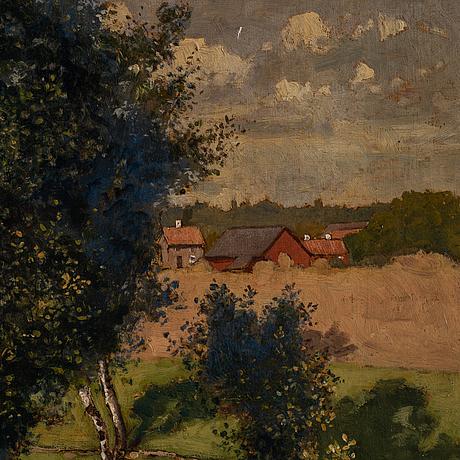 Reinhold norstedt, oil on panel, signed and dated lunda wingåker 9 sept 1891.
