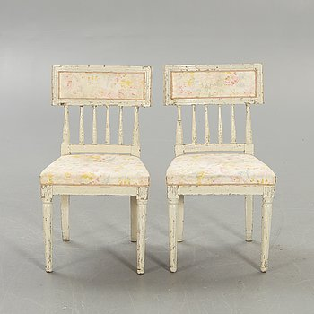A pair of late Gustavian chairs early 1800s.