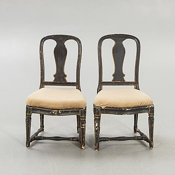 A pair of Gustavian chairs later part of the 18th century.