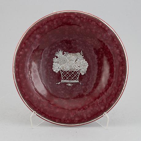 Wilhelm kåge, a red 'argenta' stoneware dish, gustavsberg.