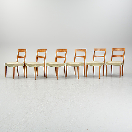 A set of 6 oak chairs decorated with walnut veneer and intarsia.