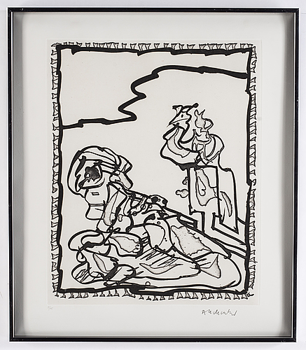 Pierre alechinsky, etching and  linocut, 1989, signed 2/125.